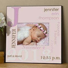 This personalized baby frame is so precious! It can be personalized with all of the baby's birth info (date, time, height, weight, etc.) and it comes in all sorts of colors for boys and girls! LOVE LOVE LOVE it!