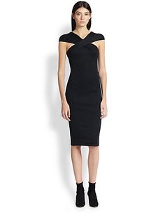 Donna Karan - Crossover Cap-Sleeve Dress - Saks.com