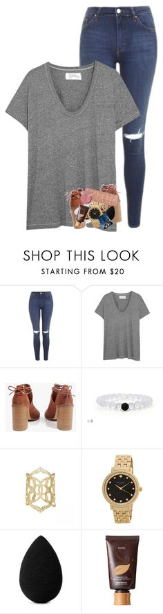 """""""Some girls love being the center of attention"""" by morgankailah ❤ liked on Polyvore featuring Topshop, The Great, Boohoo, Kendra Scott, Kate Spade, beautyblender, tarte and Urban Decay"""
