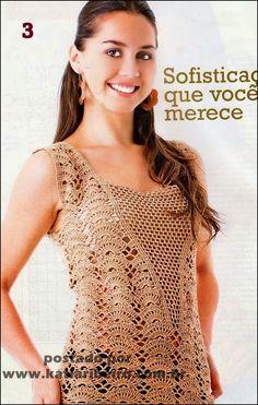 Katia Ribeiro Acessórios: Vestido em crochê com receita e gráfico