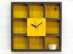 "Wooden Wall Shelf Clock ""Raft"", Ashes and Yellow, Wall Decor, Reclaimed Wood Shelf, Geometric Book Shelf, Shadow Box Shelf, Rustic Clock by Paladim on Etsy https://www.etsy.com/listing/459591000/wooden-wall-shelf-clock-raft-ashes-and"