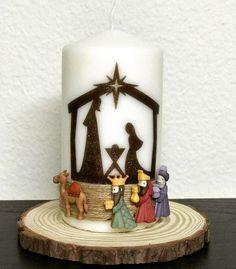 Nativity Ornaments, Nativity Crafts, Christmas Nativity, Christmas Holidays, Christmas Crafts, Christmas Ornaments, Diy Candles, Pillar Candles, Candle Art