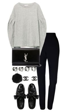 """Untitled #3502"" by theeuropeancloset ❤ liked on Polyvore featuring Plakinger, Yves Saint Laurent, Puma, Maison Margiela, Chanel and Topshop"
