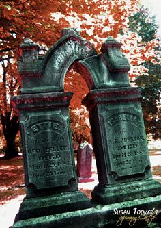Gothic Graveyard Tombstone Fine Art Photography Victorian Cemetery Portland Oregon Greeting Card SOUL SISTERS by Spinning Castle. $4.00, via Etsy.
