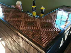 11 Amazing Things You Can Make With Pennies Hello! Here we have great wallpaper about penny top bar. We wish these photos can be your light . Backyard Bar, Patio Bar, Party Shed, Pub Sheds, Savon Soap, Built In Bar, Shed Colours, Garden Bar, Man Cave Bar