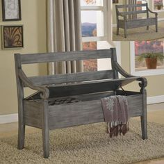 Perfect grey storage bench for living, dining or entry way. http://farbelowretail.net/shop/grey-storage-bench/