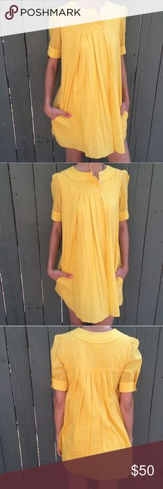 "Vanitas yellow babydoll dress Never worn. Excellent condition. Silk/cotton combo. Made in Los Angeles. Length from HPS 31.5"" arm circumference is about 12"". Chest flat is 17"" Dresses"