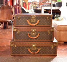 Set of Three Louis Vitton Vintage Suitcases