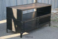 Vintage Industrial TV Stand. Steel/Reclaimed Wood. Mid Century. Urban/Loft Decor midcentury