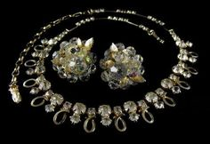 Emmons Rhinestone Necklace Vendome Clip On Earrings Vintage