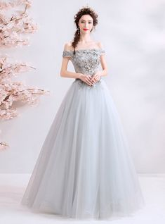 In Stock:Ship in 48 Hours Gray Tulle Off The Shoulder Appliques Prom Dress Pretty Quinceanera Dresses, Pretty Prom Dresses, Prom Party Dresses, Ball Dresses, Elegant Dresses, Cute Dresses, Ball Gowns, Backless Evening Gowns, Grey Evening Dresses