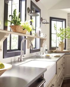 Bring the outside indoors. Liven up your space and show off your green thumb with open shelving options that make it easy for your indoor garden to thrive. Kitchen Cabinets In Bathroom, New Kitchen, Kitchen Craft, Kitchen Ideas, Kitchen Planner, Cabinet Paint Colors, Modern Farmhouse Kitchens, Custom Cabinets, Painting Cabinets
