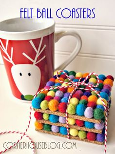Corner House: DIY Felt Ball Coasters