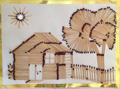 Art Match Sticks And Craft Paper Flowers Craft Stick Crafts, Diy Craft Projects, Diy Crafts, Craft Ideas, Creative Artwork, Creative Crafts, Art Drawings For Kids, Art For Kids, Matchstick Craft