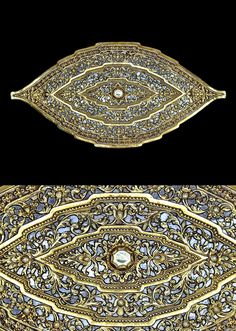 Indonesia ~ Sumatra, Palembang | Belt buckle ~ pending ~ gold and mica face, backed with copper | 19th century