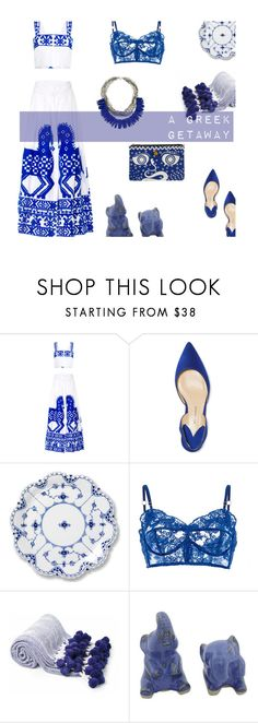 """""""A Greek Getaway"""" by alongcametwiggy ❤ liked on Polyvore featuring Yuliya Magdych, Paul Andrew, Royal Copenhagen, Rosamosario, NOVICA and Vivienne Westwood"""
