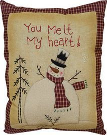 You Melt My Heart Pillow - Kruenpeeper Creek Country Gifts Christmas Sewing, Primitive Christmas, Country Christmas, Christmas Quilting, Snowman Crafts, Christmas Projects, Christmas Crafts, Christmas Christmas, Primitive Stitchery