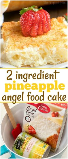 This 2 ingredient pineapple angel food cake recipe is a simple throw together de. This 2 ingredient pineapple angel food cake recipe is a simple throw together dessert that's great when people come over unexpectedly. Angel Food Cake Desserts, Angle Food Cake Recipes, Dump Cake Recipes, Köstliche Desserts, Food Cakes, Angel Food Dump Cake Recipe, Angel Food Cake Toppings, Fluff Desserts, Dump Cakes
