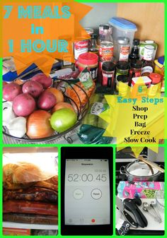 7 Meals in 1 Hour Crockpot Freezer Cooking Shopping List | Who Needs A Cape? {pinned over 3.3K times}