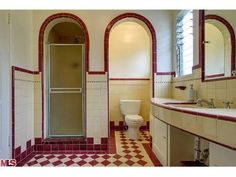 Art Deco Bathroom, Small Bathroom, Bathroom Things, Downstairs Bathroom, Bathroom Designs, Bathroom Ideas, Craftsman Bathroom, Vintage Stoves, Craftsman Style Homes