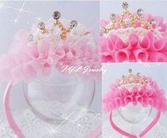 New Kids / menina / princesa / Baby Pink Velvet Crown pérola pedra Ribbon HeadBand / acessórios de cabelo