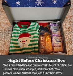 """Night Before Christmas Box. I think I would do a """"few weeks before Christmas box"""" bc we already have Christmas Eve traditions and things to do! Christmas Baby, Christmas Movies, All Things Christmas, Winter Christmas, Christmas Holidays, Christmas Decorations, Christmas Ideas, Christmas Morning, Christmas Pajamas"""