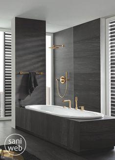 Go bold with your bathroom finishes, plus reduce your water usage! Bathroom Wall Decor, Bathroom Interior, Bathroom Tubs, Bathroom Ideas, Master Suite Bedroom, Master Bathroom, Open Showers, Best Bathroom Designs, Creative Decor