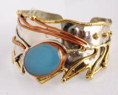 Vintage Mixed Metals Modernist Cuff Bracelet.