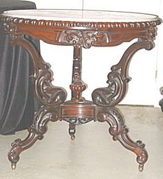 Rococo Revival Rosewood U0026 Marble Top Table. Victorian ...