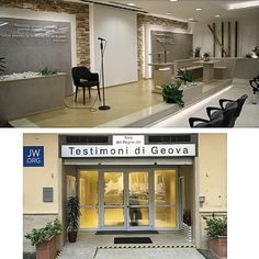 Kingdom Hall in Rome, Italy. Four congregations use this hall: two Italian, one English, and one Russian.