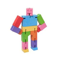 Cubebot® is a wooden toy robot inspired by Japanese Shinto Kumi-ki puzzles. Made from wood and elastic, Cubebot can be positioned to hold dozens of poses. Designed by David Weeks Studio for Areaware. Contemporary Toys, Yellow Octopus, Nachhaltiges Design, Brain Teaser Puzzles, Wooden Cubes, Cool Gifts For Kids, Fun Gifts, Awesome Gifts, Land Of Nod