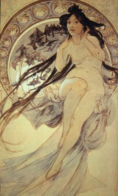 Alphonse Mucha, Four arts : The music.✖️More Pins Like This One At FOSTERGINGER @ Pinterest✖️
