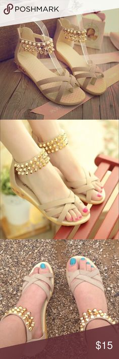 Nude Studded Gladiator Cross Sandals Super cute and comfy summer sandals. Nude cream color with pretty stud decorations. Lightly worn. Short flat heel and zipper at back. 💝Bundle items for discount and gift💝 No trade. Shoes Sandals