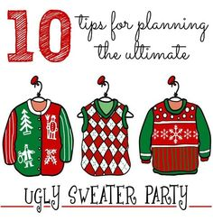 Are you planning an Ugly Christmas Sweater Party this year? Then you have to check out these 10 Tips! - Pretty My Party #ugly #Christmas #sweater #party #ideas #holiday