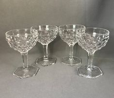 Set of 4 Fostoria American Champagne Coupe Glasses, Cocktail Glasses, Hexagon Base, Vintage Ice Cube Pattern Glasses Desert Rose Dishes, Champagne Coupe Glasses, Fostoria American, Princess House Crystal, Fostoria Glass, Cube Pattern, Vintage Champagne, Currier And Ives, Glass Company