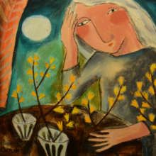 """Susan Gathercole RCA """"Contemplating the Forsythia"""" Mixed media £495"""