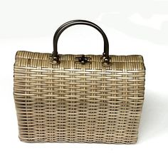 Vintage Wicker Box Purse with Brass and Leather Trims by PastPrezence on Etsy