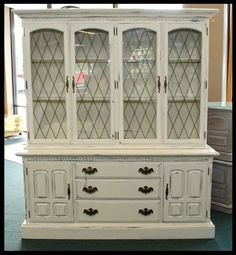 Before and after: Chalk painted Ethan Allen China cabinet. My own ...
