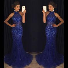 Navy Blue High Neck Rhinestone Sequin Prom Dresses,