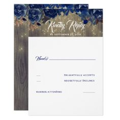 Navy Flowers Rustic RSVP Card - wedding invitations cards custom invitation card design marriage party