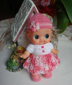Crochet clothes for 8 inch Kewpie Rubber baby doll Dress