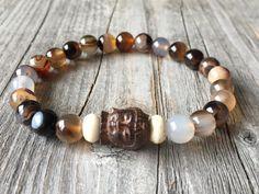 Half edelsteen armband Buddha armband kralen door KennlyDesign