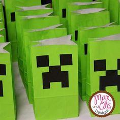 Diy Minecraft Birthday Party, Minecraft Party Favors, Easy Minecraft Cake, Minecraft Bag, 8th Birthday, Birthday Parties, Birthday Ideas, Birthday Cakes, Mine Craft Birthday