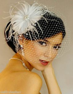 White Rhinestone Brooch Fascinator Birdcage Veil Brida