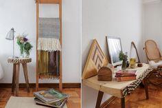 Un depto donde la madera es la protagonista  Mesas de luz de paraíso con patas de guayubira ($1.800, Tria) y lámparas cromadas (Ikon Lamps). Escalera de madera de ciprés con manta de llama ($3.350) Foto:Daniel Karp