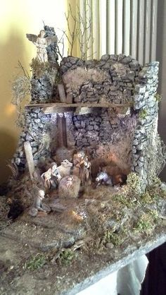 me ~ Cutest DIY Miniature Stone House Ideas Nativity Stable, Diy Nativity, Christmas Nativity Scene, Christmas Room, Christmas Villages, Christmas Crafts, Christmas Decorations, Xmas, Cute Diys