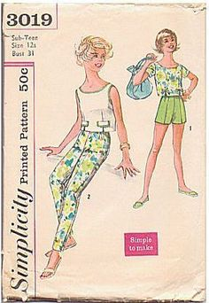 Vintage 1960s Pants Pattern, Teen Blouse, Simplicity Sewing Pattern 3019, Bust…