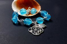Aqua Blue Sea Glass Bracelet Wire Wrapped   Chunky   by lyrisgems, $34.00