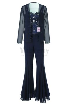 793013d7728a2 Yabreny Exquisite Hand-beading Chiffon Mother of the Bride Pantsuits Dark  Navy MT001705-2