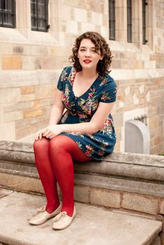 this look from the ModCloth Style Gallery! Cutest community ever. Pantyhose Fashion, Fashion Tights, Sweater Fashion, Fashion Outfits, Women's Fashion, Trendy Fashion, Fashion Models, Fashion Portfolio Layout, Colored Tights